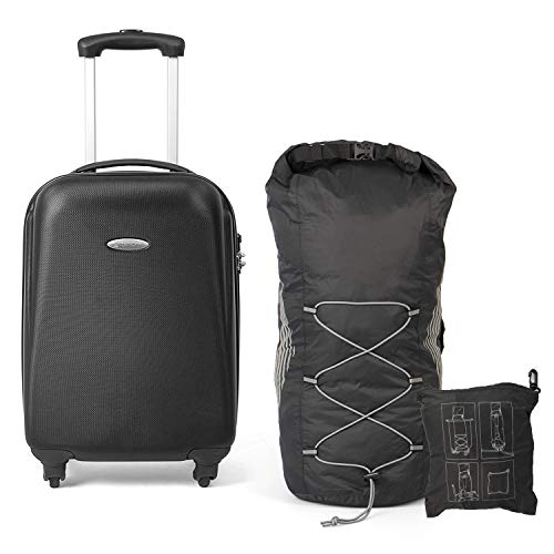 MasterGear Handgepäck Koffer aus ABS mit Reißverschluss + faltbarer Rucksack   Koffer 4 Rollen   Trolley, Reisekoffer, Hartschalenkoffer   für zahlreiche Fluggesellschaften geeignet (schwarz)