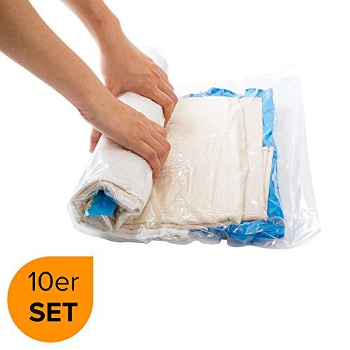 Vakuumbeutel Reise | 10 Stück Aufbewahrungsbeutel | Vakuum Beutel | Rollen per Hand | ohne Staubsauger | kompressionsbeutel | Vacuum Space Storage Bags | Compression Bag // March Brands