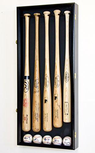 5 Baseball Bat Display Case Cabinet Holder Wall Rack w/UV Protection - Lockable (Black Finish)
