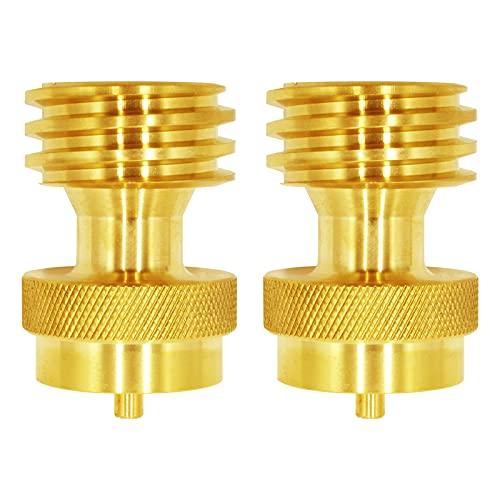 MCAMPAS Paquete de 2 adaptadores de propano desechables de 1 libra, apto para convertir cilindro de 1 libra en conexión a reguladores...