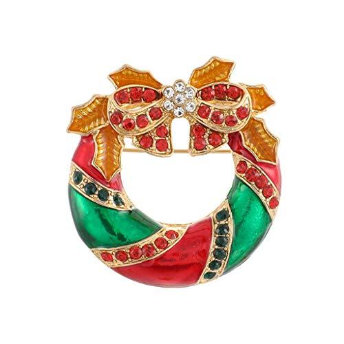 ErYao Christmas Brooch Pin for Women,Crystal Diamond Christmas Jewelry Gift, Reindeer Angel Charm Brooch Pin (Wreath)