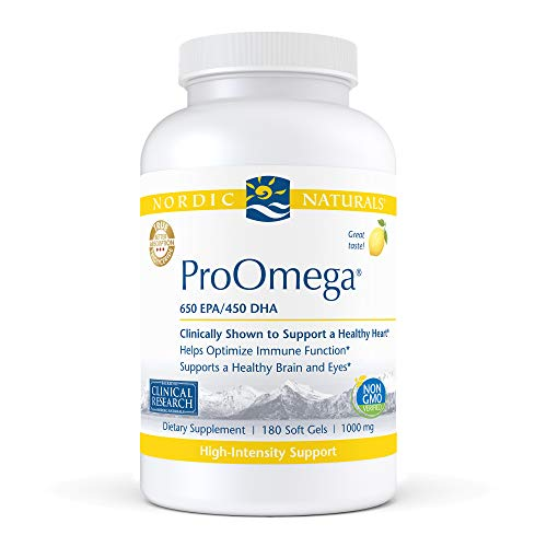 Nordic Naturals ProOmega, Lemon Flavor - 1280 mg Omega-3 - 180 Soft Gels - High-Potency Fish Oil with EPA & DHA - Promotes Brain, Eye, Heart, & Immune Health - Non-GMO - 90 Servings