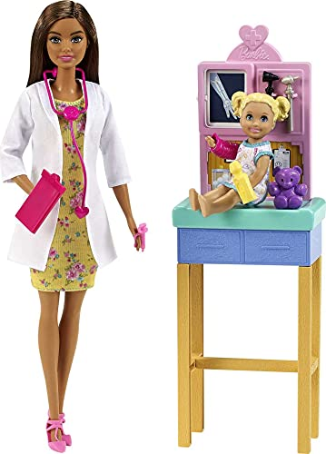 Barbie Pediatrician Playset, Brunette Doll (12-In/30.40-cm), Exam Table, X-Ray, Stethoscope, Tool, Clip Board, Patient Doll, Teddy Bear, Great Gift for Ages 3 Years Old & Up