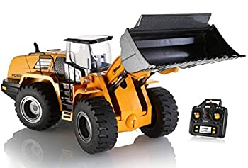 Top Race 10 Channel Full Functional Remote Control Front Loader Construction Tractor Full Metal Bulldozer Toy Can Dig up to 3.5 Lbs 1 14 Scale TR-213