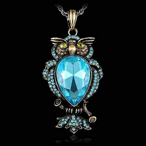 DGSDFGAH Collar De Mujer,Azul Pedrería Antiguo Animal Búho Colgante Exquisito Collar Largo Retro Nostálgico Retro Gótico Gran Piedra Collar De Joyería De Las Mujeres