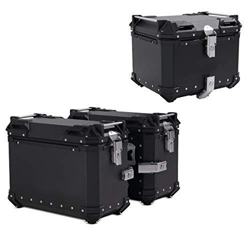 Motorrad Alukoffer Set/Aluminium Seitenkoffer XB38 + Topcase XB45 schwarz