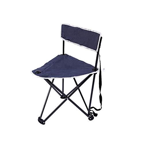 Chaise pliante Chaise pliante à cadre en acier Chaise longue polyvalente (Couleur : Bleu, taille : 42 * 63CM)