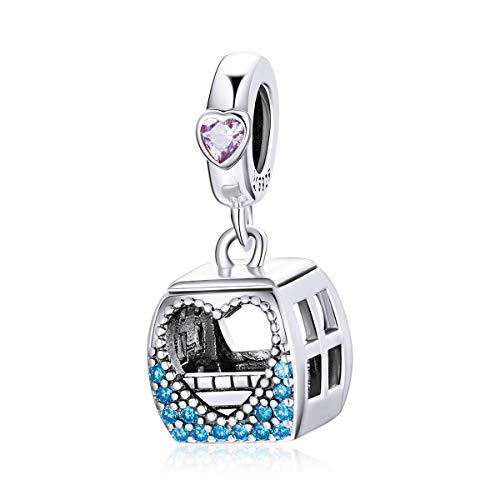 925 plata Cable car corazón amor encanto colorido ajuste original pulsera DIY collar colgante joyería