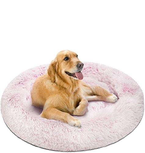 Friends Forever Coco Cat Bed, Faux Fur Dog Beds for Medium Small Dogs - Self Warming Indoor Round Pillow Cuddler, Large, Pink