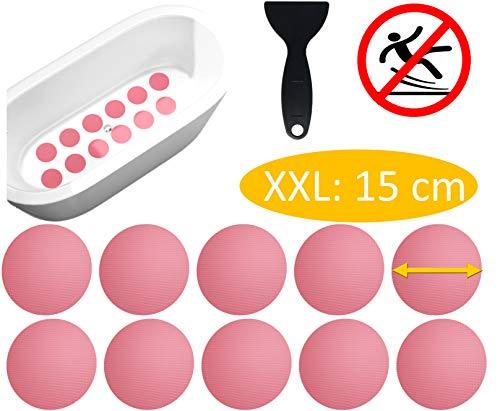 cocofy Große Anti-Rutsch Sticker für Badewanne und Dusche Ø 15 cm XXL Pads, rosa-rot, rund, Anti Rutsch Aufkleber als rutschfeste Antirutschmatte in der Dusche auch für Kinder, 10-Pack