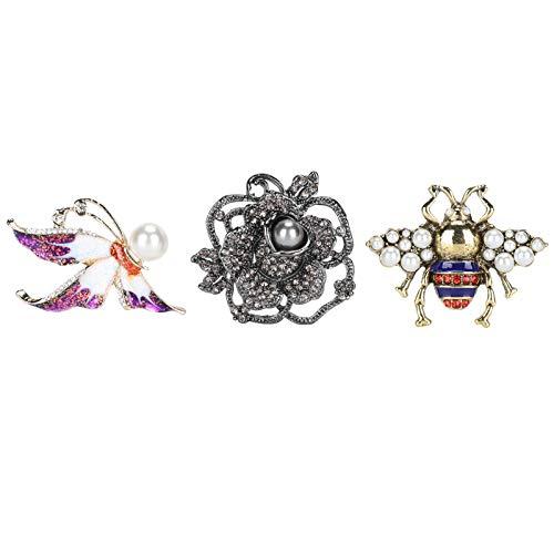 3 piezas de alfileres de broche, broche con clip para bufanda, hebilla de imitación vintage, alfileres de flores, joyería de disfraz para mujeres y señoras