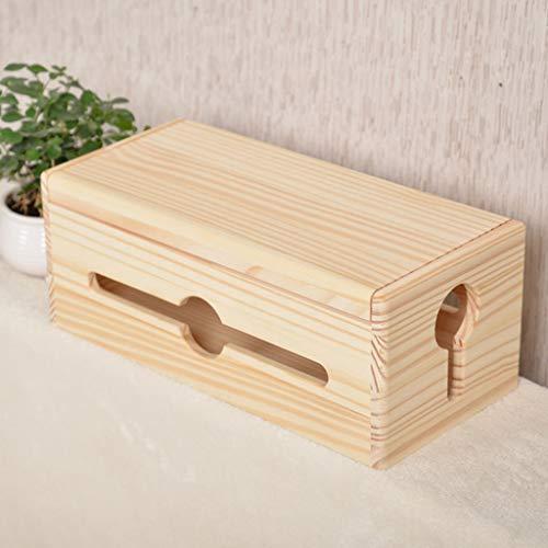 Brmind Pine kabel afwerkingsdoos, power board socket opbergdoos grenen zonder verf, geschikt voor bureau, TV, PC, huis en kantoor, puur hout clamshell