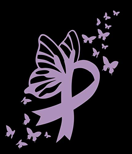 Butterfly Testicular Cancer Ribbon Vinyl Decal   Lavender   Made in USA by Foxtail Decals   for Car Windows, Tablets, Laptops, Water Bottles, etc.   3.7 x 4.5 inch