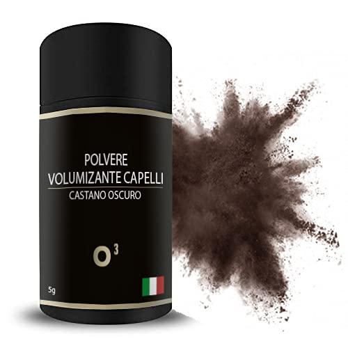 Polvere Volumizzante Capelli, UNISEX – CASTANO SCURO - Polvere di Cheratina PREMIUM - Fibre per Capelli Densificante