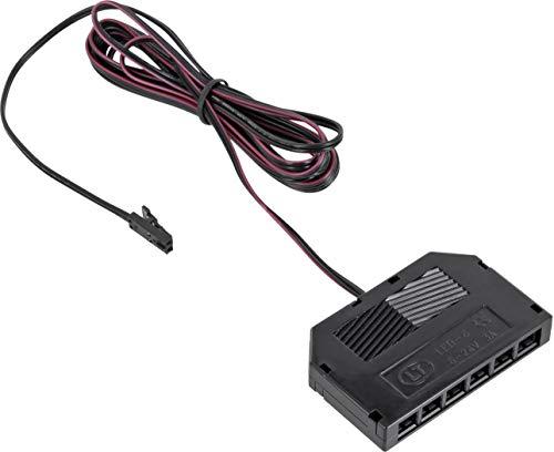 12V MINI-AMP - 2m Kabel mit 6-Fach Verteiler + Stecker - Verbindungskabel Anschlusskabel - schwarz