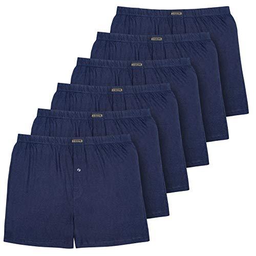 ROYALZ 6er Pack Boxershorts für Herren Baumwolle American hohe Taille leichte Unterhosen Men Weit Hoch Weich 6 Set Männer Unterwäsche, Farbe:Navy Blau, Größe:L
