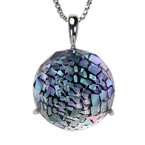真珠の杜 水晶 ネックレス クォーツ SV925 シルバー925 銀 漆 オーロラ 黒色 銀色 虹色 ペンダント レディース 誕生石 4月 dpn658-662wps
