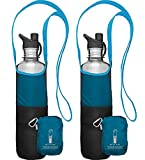 ChicoBag Bottle Sling rePETe Recycled Water Bottle Carrier Bag with Pouch - Aquamarine