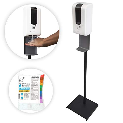 ArtNaturals Automatic Touchless Hand Sanitizer Dispenser with Floor Stand - Hands Free Alcohol Sprayer with No Touch Sensor - 1 Refill Included