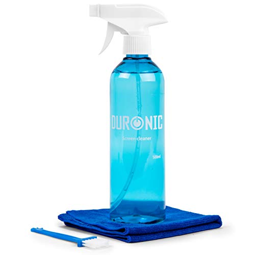 Duronic Screen Cleaner Kit SCK103 | Large Bottle 500ml | Cleaning Spray for LCD/TFT/LED/Plasma/OLED Televisions and Computer Monitors | With Microfibre Cloth | Ideal for Laptops, Smartphones, Tablets