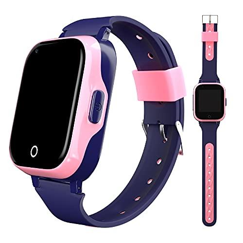 Smartwatch para niños 4G con localizador GPS + WiFi + Lbs, Reloj Inteligente con videollamada,Camara y Llamadas Simples integrada (Rosa)