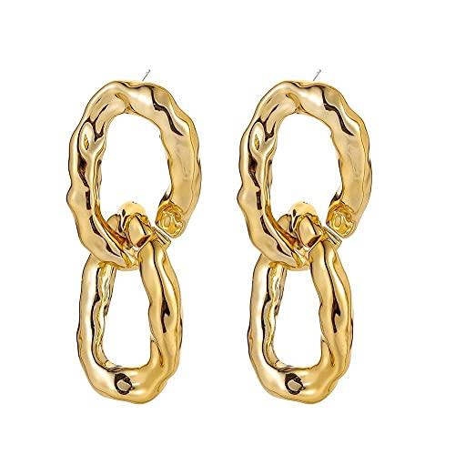 Pendientes Pendientes De Borla De Anillo Doble Simple Pendientes De Cadena De Oro Con Textura De Metal