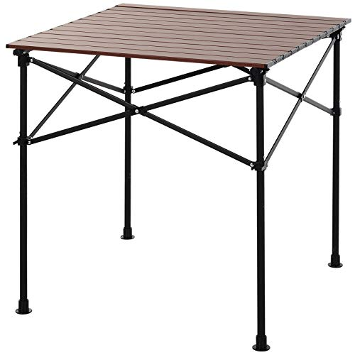 Outsunny Square Folding Aluminium Picnic Table Portable Camping BBQ Table Roll Up Top with Carrying Bag