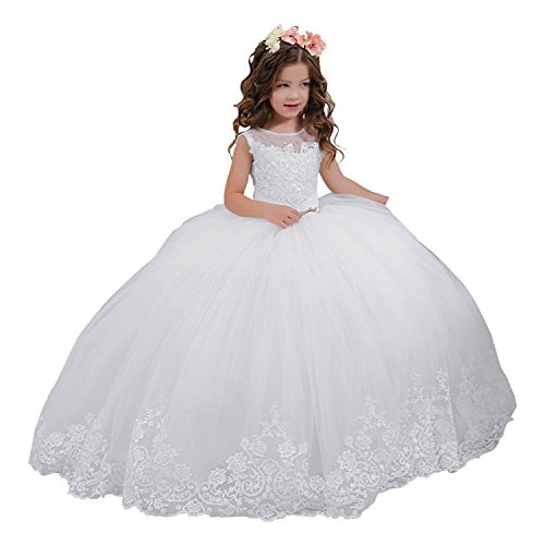 Vintage Lace Embellished Girls Communion Dresses 2-12 Year Old, White, Size 8