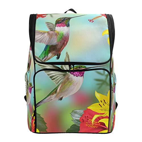 Ahomy Schulranzen Kolibri, Blumen, Wanderrucksack, Cooler Sportrucksack, Laptoptasche, leicht, Schulrucksack für Teenager Mädchen Jungen