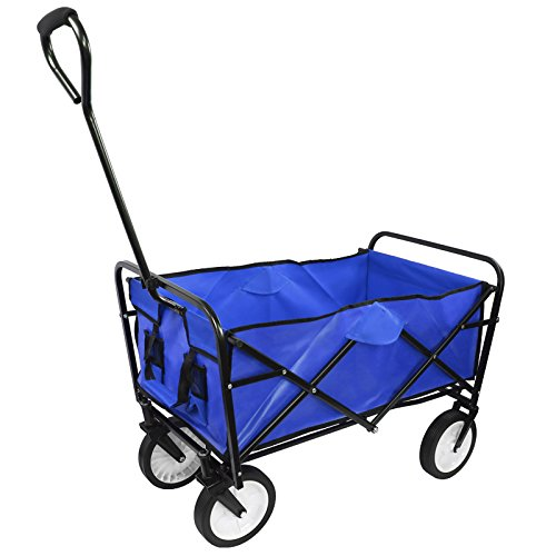 Collapsible Outdoor Utility Wagon, Heavy Duty Folding Garden Portable Hand Cart, with Drink Holder, Suit for Shopping and Park Picnic, Beach Trip and Camping (Blue)