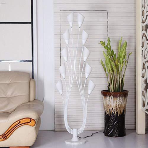 Lámpara de pie de mesa de centro Moda simple Negro Blanco Led Lámpara de pie Dormitorio Sala de estar Lámpara de pie (Color : White)
