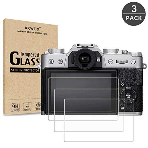 AKWOX [3 Pezzi] Pellicole Protettive Fujifilm X-T20 X-T10 X-A1 X-A2 X-M1 X-E3 X 30, [Anti Graffi] Vetro Temperato per Fujifilm X-T20 X-T10 X-A1 X-A2 X-M1 X-E3 X 30 Vetrini Protettivi [Durezza 9H]