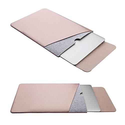 RUISIKIOU Filz Sleeve Hülle für MacBook 12 Zoll, Filz Sleeve Hülle Ultrabook Laptop Tasche für MacBook 12'' mit Geschutztes Inneres & Externes Mousepad, Rosé Gold