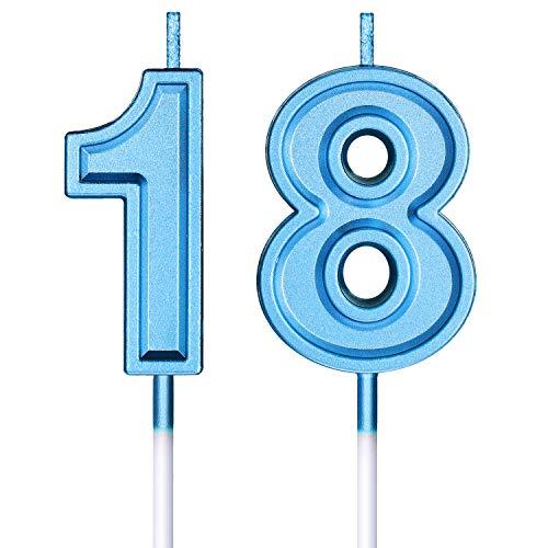 Velas de Cumpleaños 18 Velas de Numeros de Pastel Topper Decoración de Pastel de Feliz Cumpleaños para Cumpleaños Boda Aniversario Celebración (Azul)