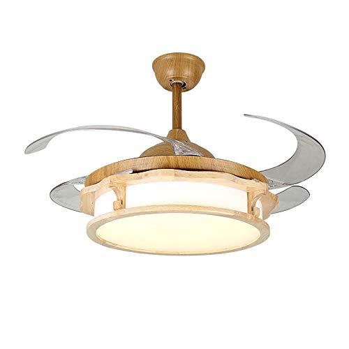 HEMFV Luz del ventilador de techo Techo estilo nuevo chino lámpara de la lámpara de la lámpara del ventilador del ventilador Comedor Sala de estar de la lámpara de la lámpara simple invisible mudo del
