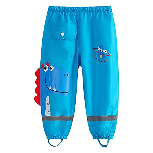 wetry Pantalones Impermeables de Agua para Niños Niñas,Dibujos Animados Dinosaurio Pantalon Lluvia al Aire Libre Dinosaurio Azul M