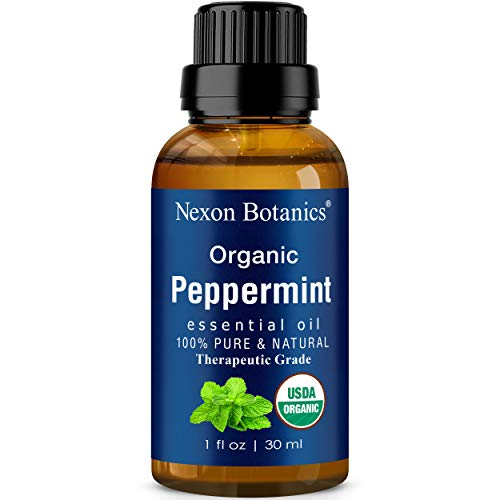 Organic Peppermint Essential Oil 30 ml - Certified USDA Pure Natural Undiluted - Menthol from Mentha Piperita - Fresh Mint Oil for Aromatherapy, Diffuser and DYI Skin Care Recipes from Nexon Botanics