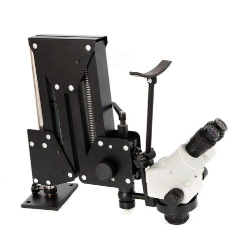 Microscope Jewelry Diamond Setting Machine with Stand Micro Inlaid Continuous Zoom Wide Angle Vision Technology Universal Micro Setting Microscope Jewelry Tools (3'' with Microscope)