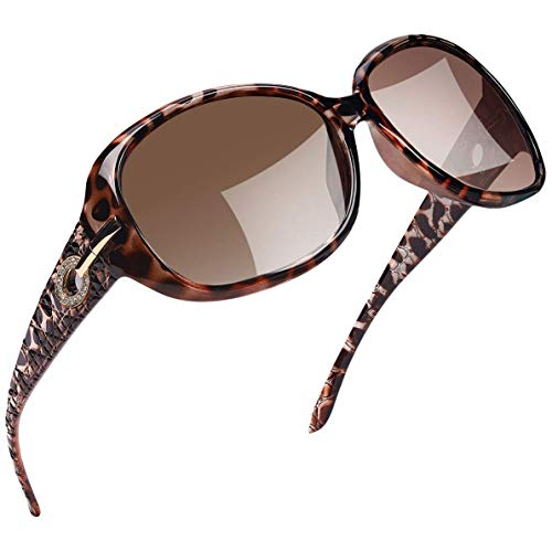 Joopin Polarized Sunglasses for Women Vintage Big Frame Sun Glasses Ladies Shades (Lopard)