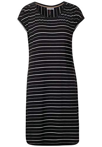Street One Damen 142645 Streifenkleid Kleid, Black, 40