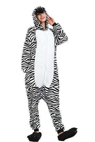 Bonitos monos de unicornio con forro polar para pijama, sin insomnio, para Halloween, Navidad, Carnaval, fiestas, cosplay, disfraces para niños y adultos cebra L