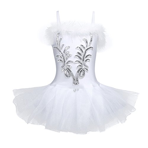 IEFIEL Vestido Maillot de Ballet Danza para Niña Chica (4-12 Años) Tutú Flor Princesa con Lentejuelas Brillantes + Guantes + Clip