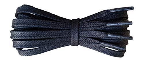 Gewachste Baumwolle Schnürsenkel - Schwarz - 6 mm flach - Ideal für Sport und Freizeit - Länge 140 cm - Hergestellt in England