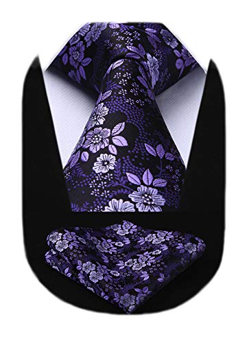 HISDERN Men Purple Floral Ties Woven Classic 3.4' Necktie Set Formal tie Pocket Suqare for Wedding Business with Handkerchief Gift Box