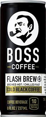 BOSS Coffee by Suntory - Japanese Flash Brew Original Black Coffee, 8oz 12 Pack, Imported from Japan, Espresso Doubleshot, Ready to Drink, Keto Friendly, Vegan, No Sugar, No Gluten, No Dairy