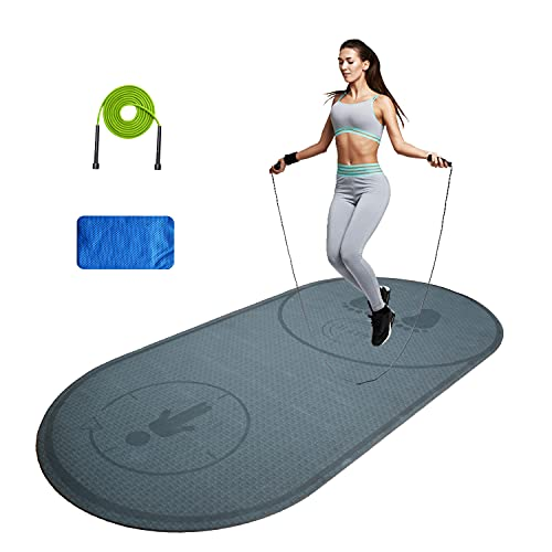 Jump Rope Mat with Fitness towel and Jump Rope, 50''x 27'' Fitness Exercise Mat Knees Floor Protection Impact Absorption Jumping Rope Mat Durable Non-Slip for Home Gym(Grey)