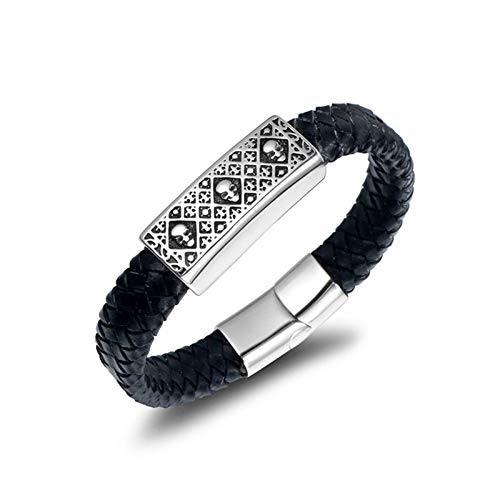 GHabby Bracelets for Men - Personalised Woven Cuff Leather Bracelets, Classic Men's Rope Wristband and Stainless Steel Punk Bracelet with Magnetic Clasp (H)