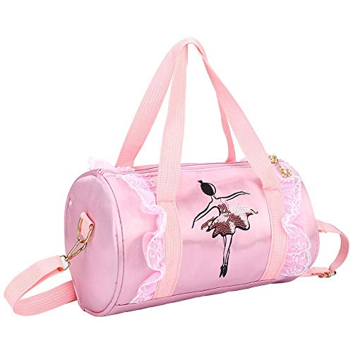 Weiyiroty 28,5 * 17,5 * 17,5 cm Tanztasche mit Pailletten, Ballettschuhtasche, Ladengetränk, Handtuch, Kindersportbekleidung für(Pink Short Yarn)