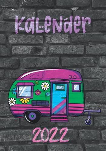 Kalender 2022 Wochenkalender Nov. 2022- Jan.2023: Camping Wohnwagen Hippie Style Kalender Nov.'21-Januar'23. Jahreskalender, Monatsplaner, ... Doppelseite je Woche mit Listen für Ziele