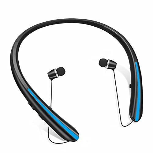 Bluetooth Headphones, Retractable Wireless Neckband Earbuds Earphone Stereo Headsets with Microphone by Viceting (20 Hours of Music, 2020 Upgraded) (Black Blue)